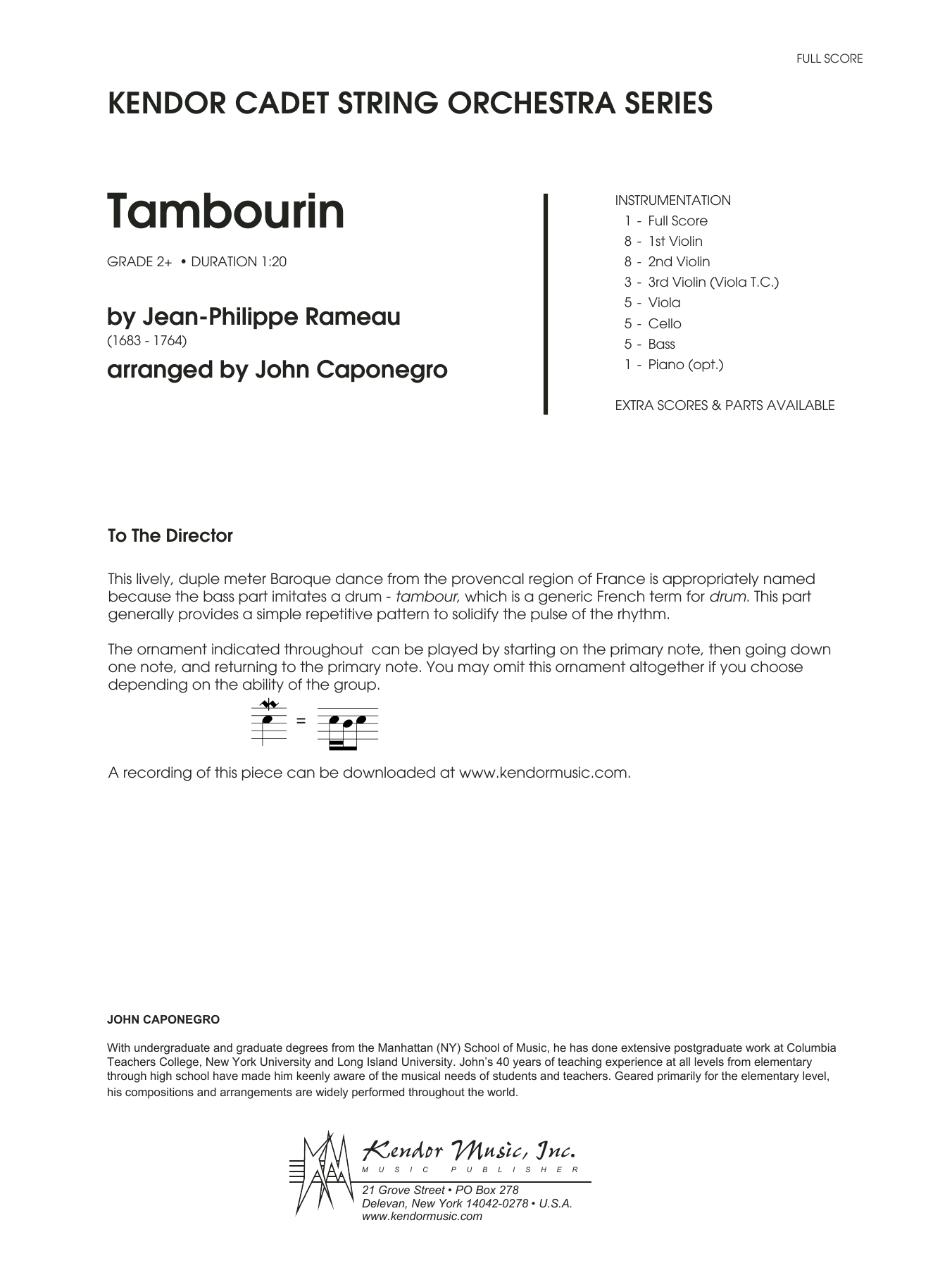 John Caponegro Tambourin - Full Score sheet music notes and chords. Download Printable PDF.