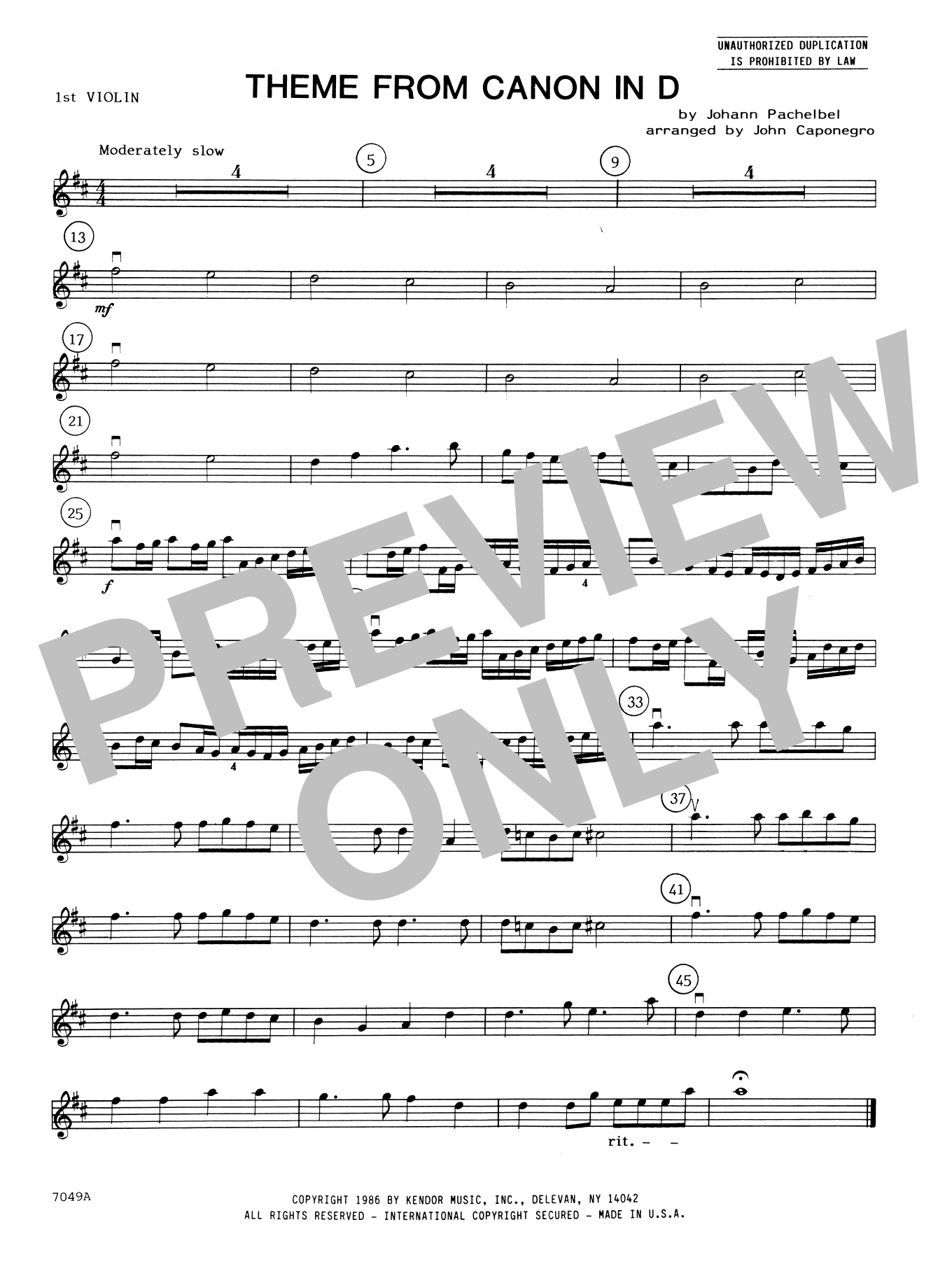 John Caponegro Theme From Canon In D - 1st Violin sheet music notes and chords. Download Printable PDF.