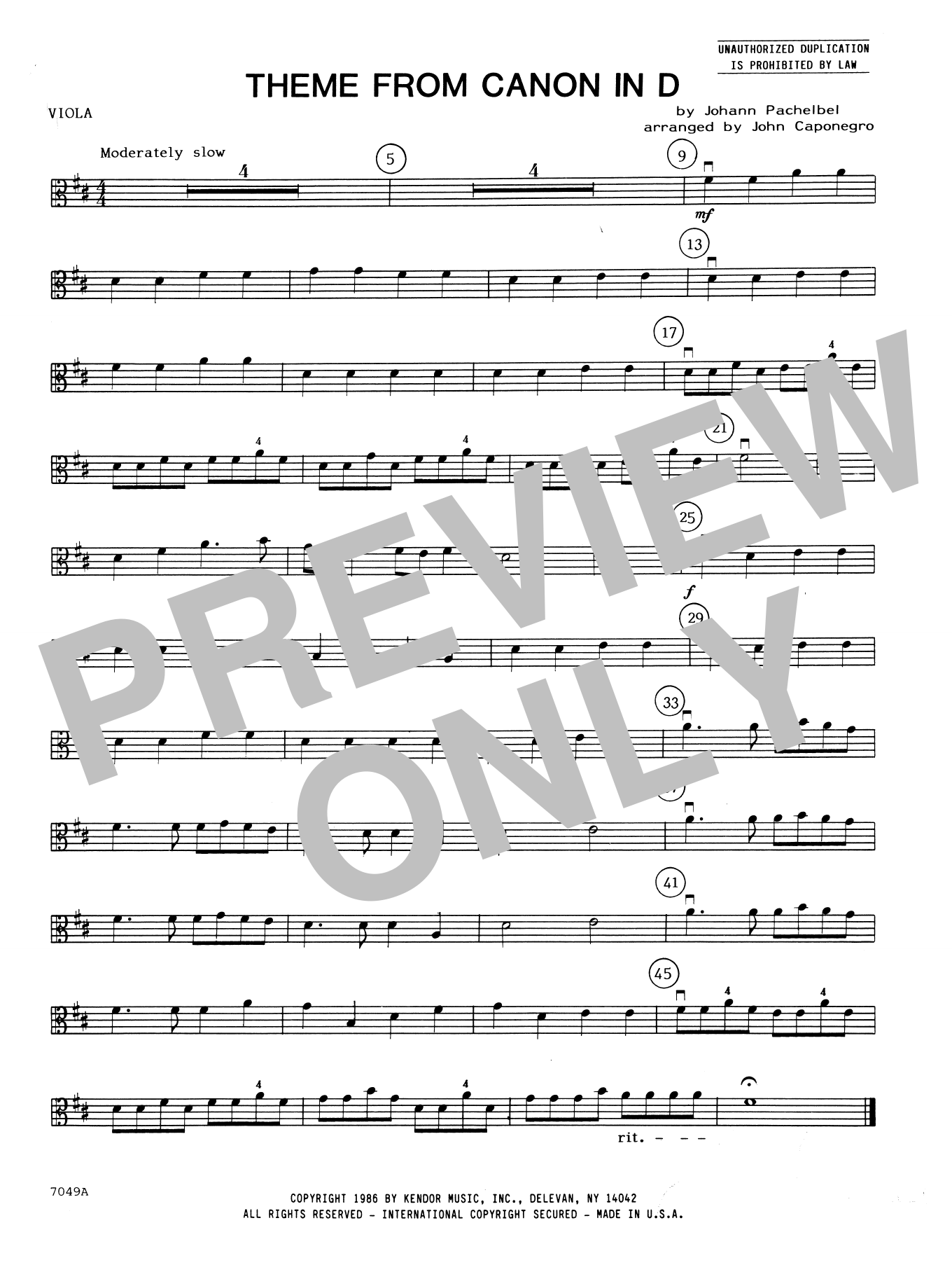 John Caponegro Theme From Canon In D - Viola sheet music notes and chords. Download Printable PDF.