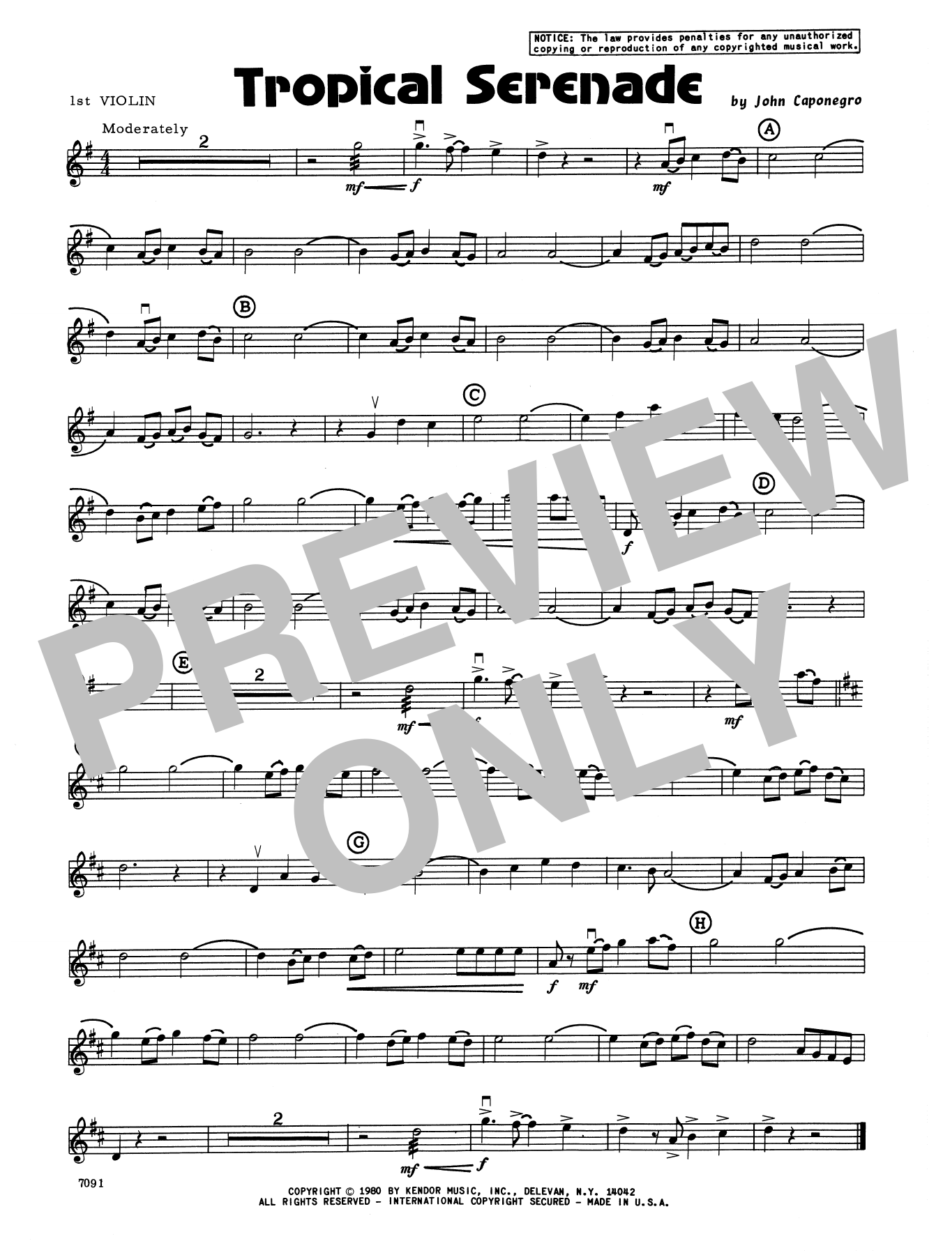 John Caponegro Tropical Serenade - 1st Violin sheet music notes and chords. Download Printable PDF.