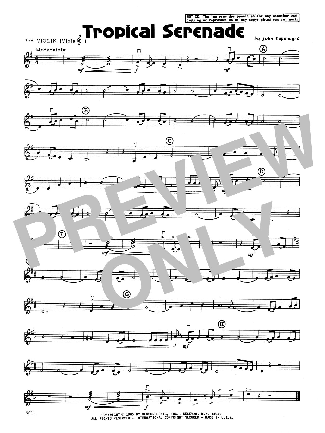 John Caponegro Tropical Serenade - 3rd Violin sheet music notes and chords. Download Printable PDF.