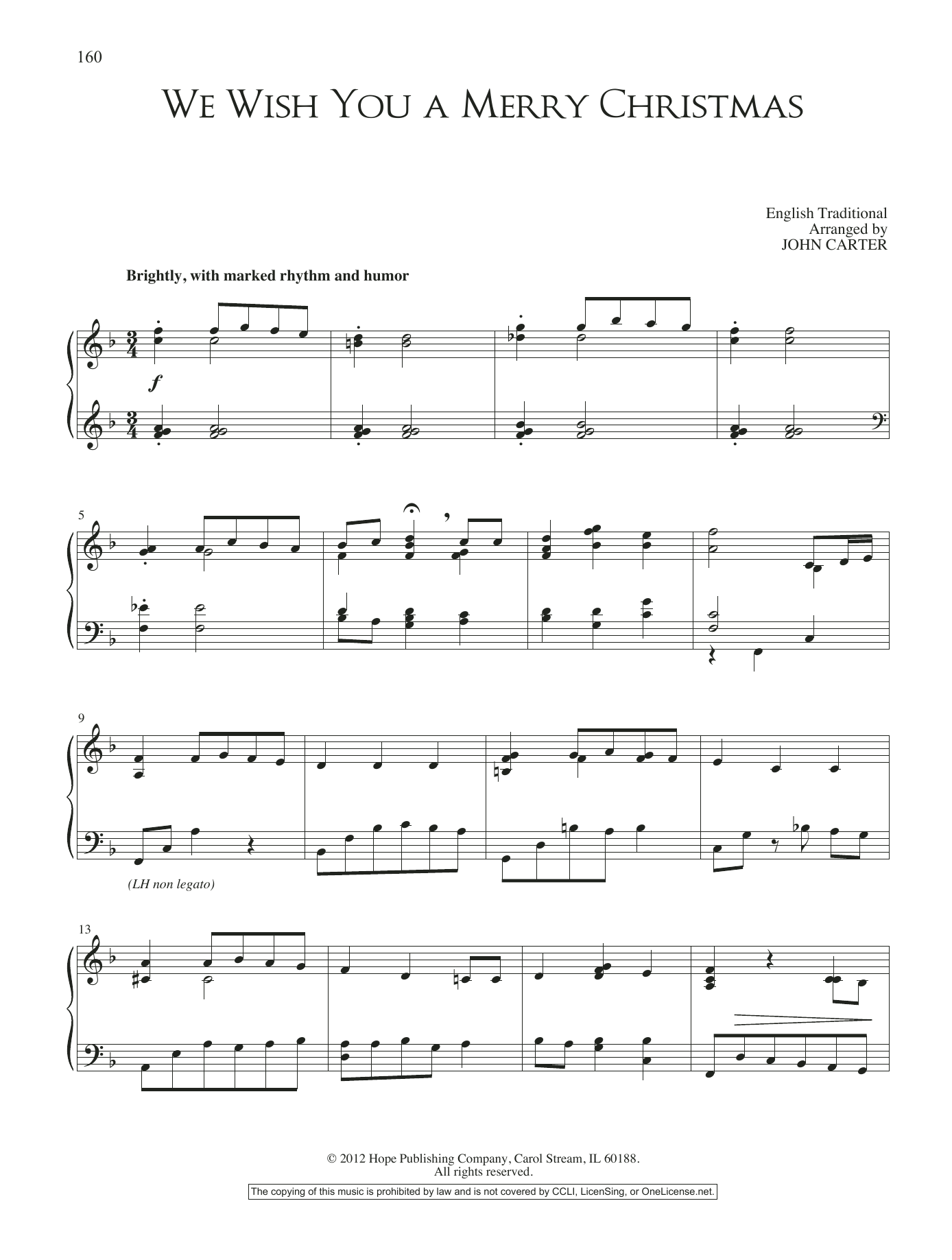 John Carter We Wish You A Merry Christmas sheet music notes and chords. Download Printable PDF.