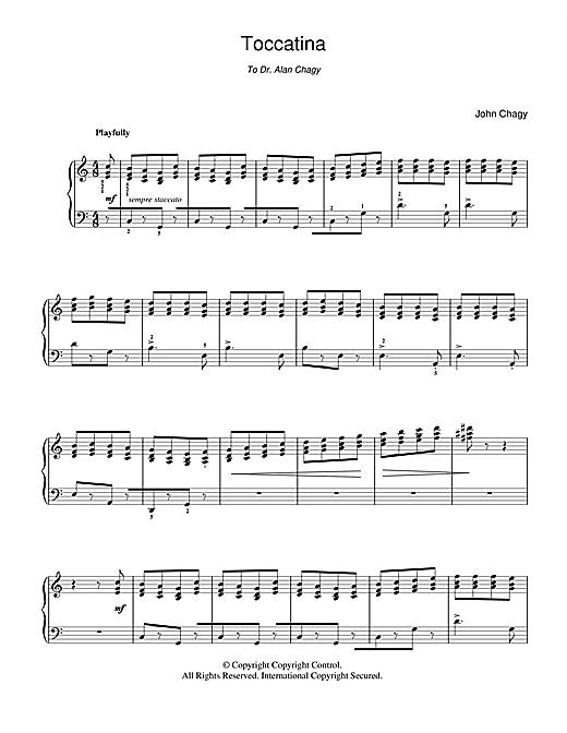 John Chagy Toccatina sheet music notes and chords. Download Printable PDF.