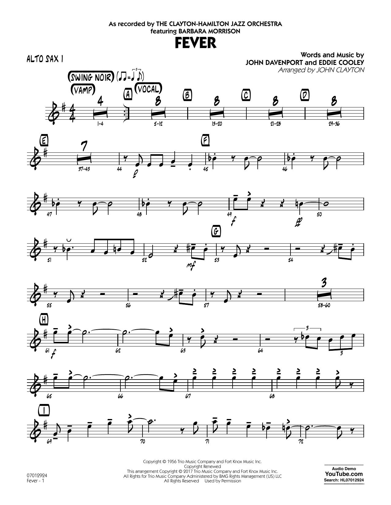 John Clayton Fever (Key: G min) - Alto Sax 1 sheet music notes and chords. Download Printable PDF.