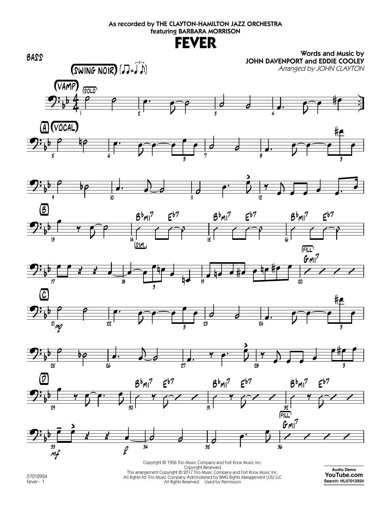 John Clayton Fever (Key: G min) - Bass sheet music notes and chords. Download Printable PDF.