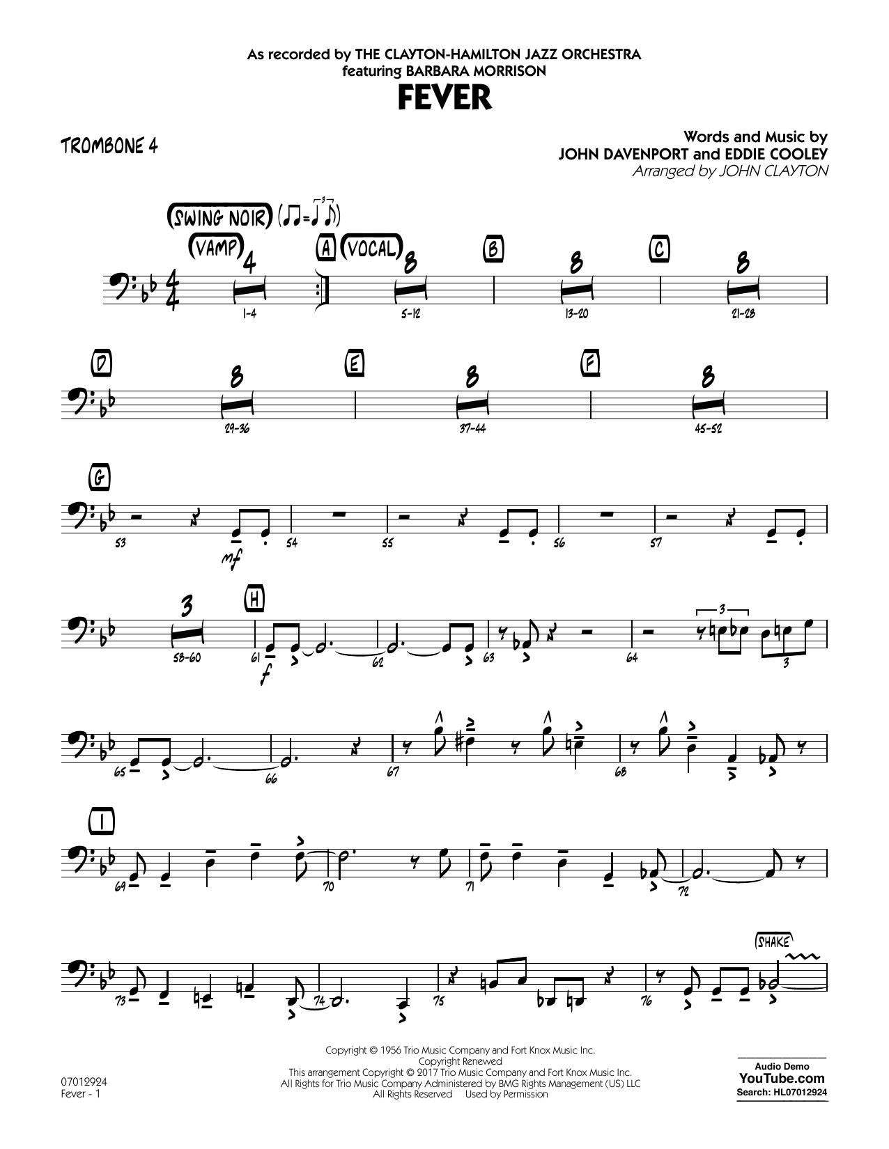 John Clayton Fever (Key: G min) - Trombone 4 sheet music notes and chords. Download Printable PDF.