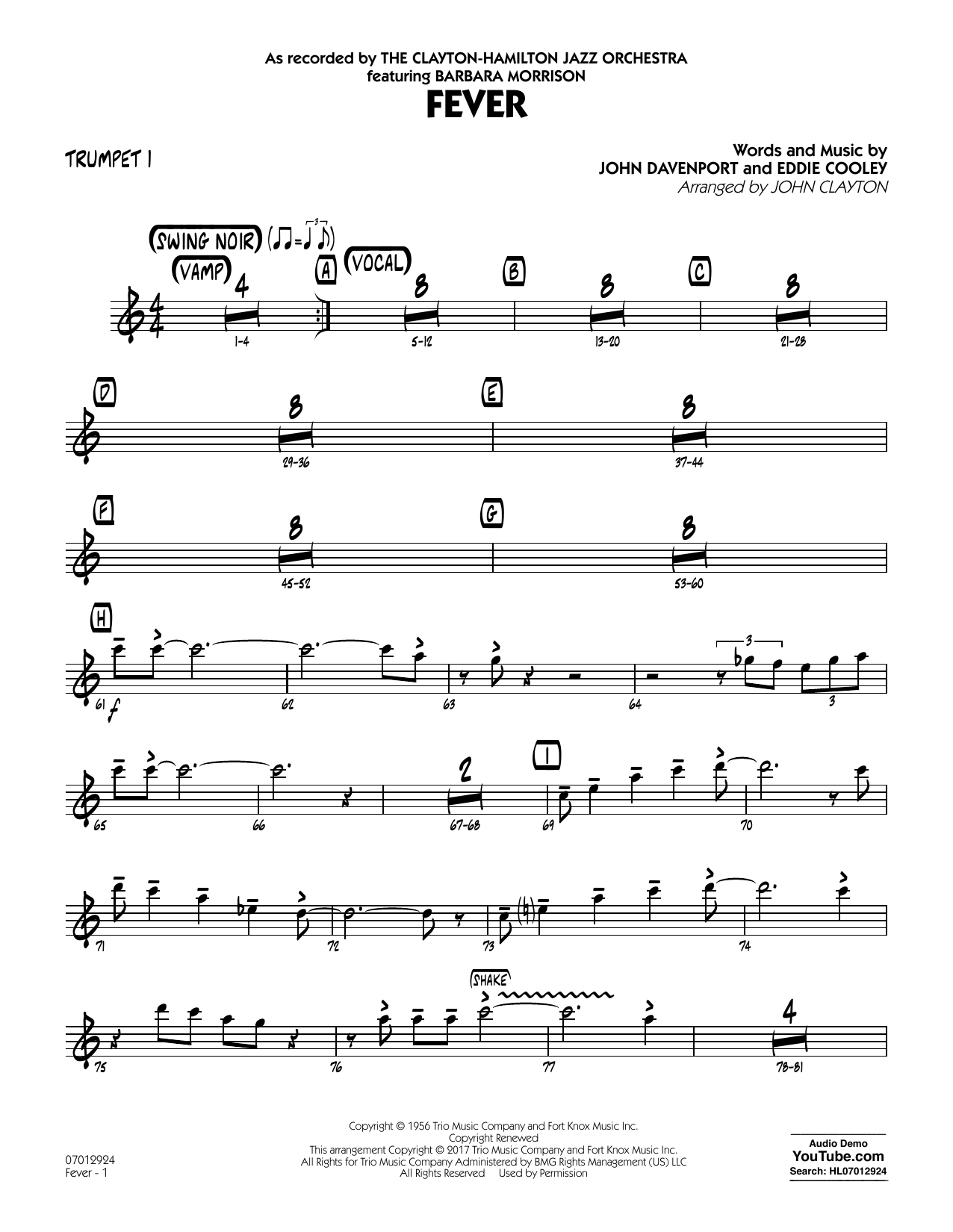 John Clayton Fever (Key: G min) - Trumpet 1 sheet music notes and chords. Download Printable PDF.