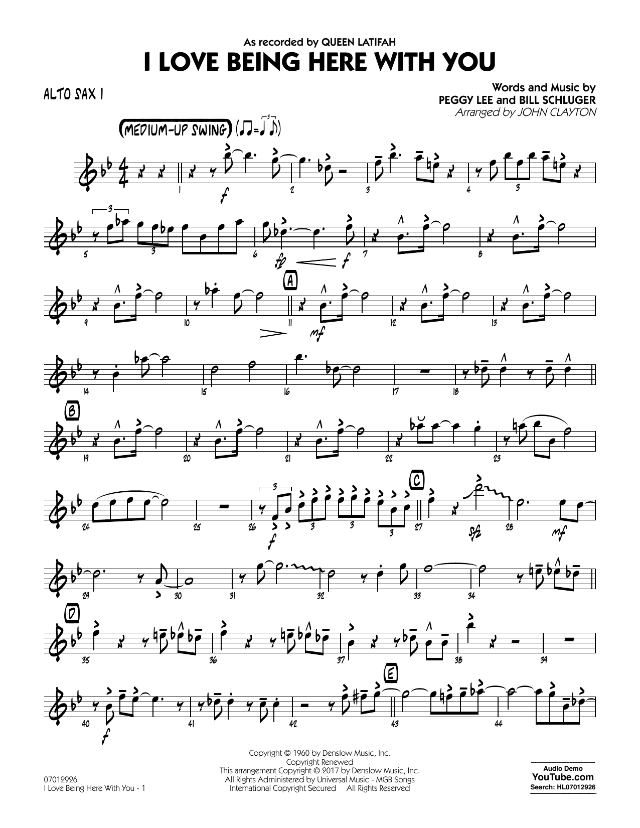 John Clayton I Love Being Here with You (Key: Db) - Alto Sax 1 sheet music notes and chords. Download Printable PDF.
