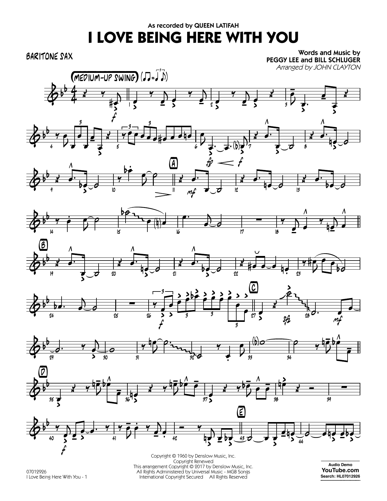 John Clayton I Love Being Here with You (Key: Db) - Baritone Sax sheet music notes and chords. Download Printable PDF.