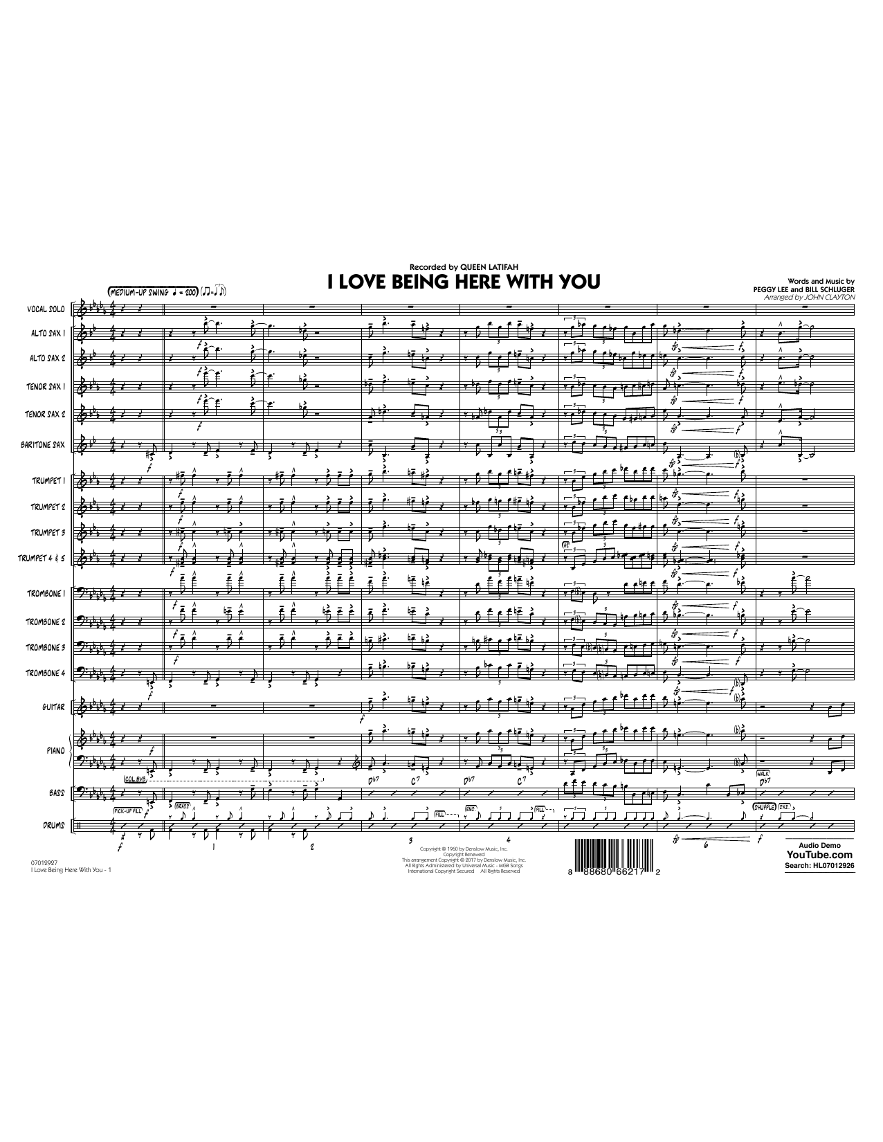 John Clayton I Love Being Here with You (Key: Db) - Conductor Score (Full Score) sheet music notes and chords. Download Printable PDF.