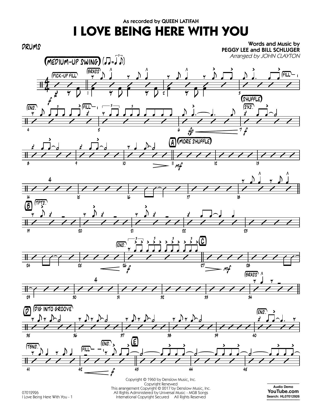 John Clayton I Love Being Here with You (Key: Db) - Drums sheet music notes and chords. Download Printable PDF.