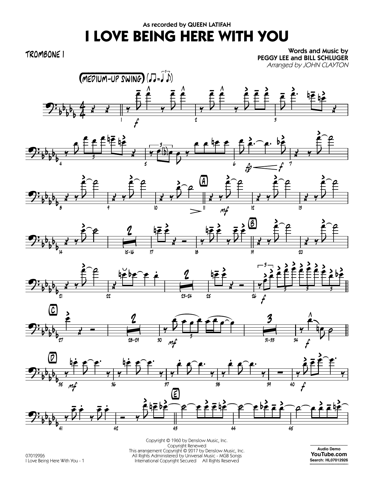 John Clayton I Love Being Here with You (Key: Db) - Trombone 1 sheet music notes and chords. Download Printable PDF.