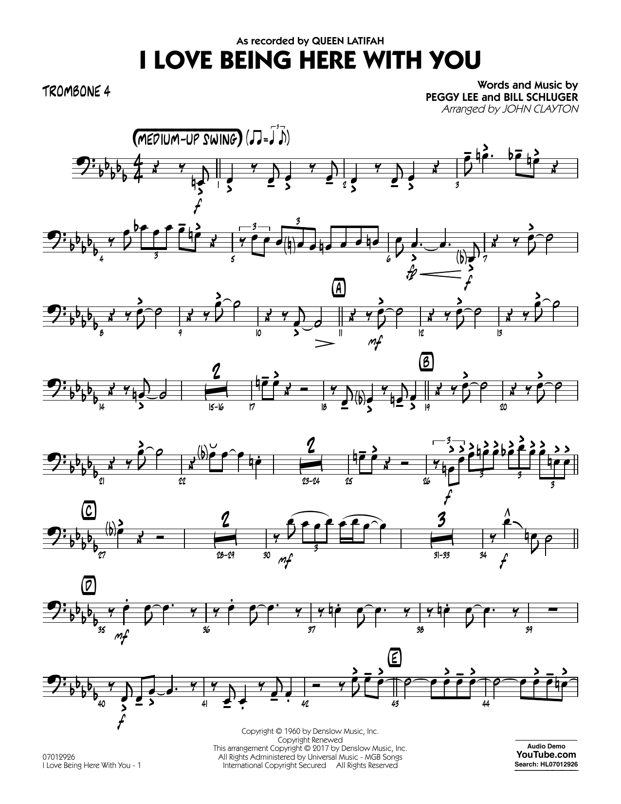 John Clayton I Love Being Here with You (Key: Db) - Trombone 4 sheet music notes and chords. Download Printable PDF.
