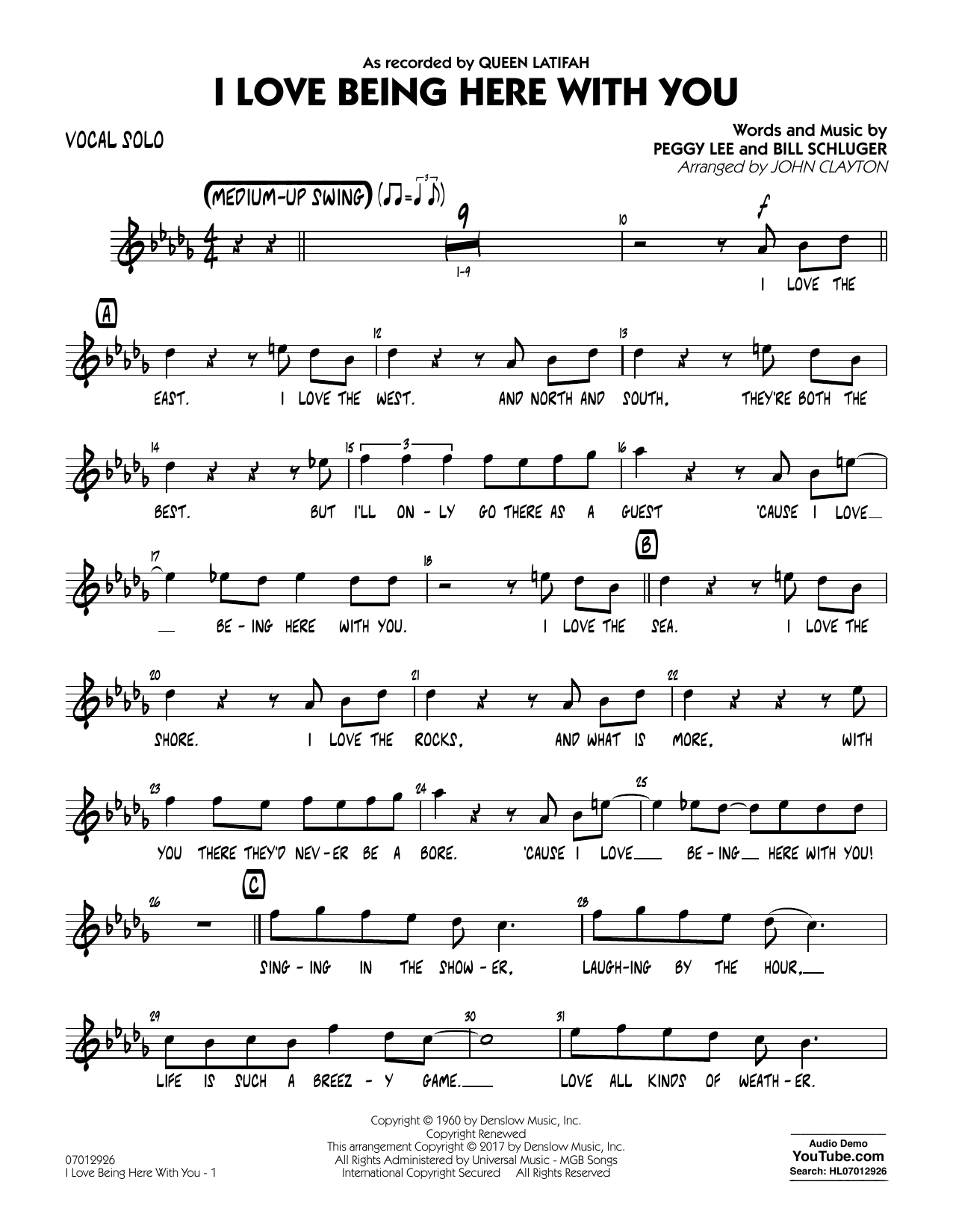 John Clayton I Love Being Here with You (Key: Db) - Vocal Solo sheet music notes and chords. Download Printable PDF.