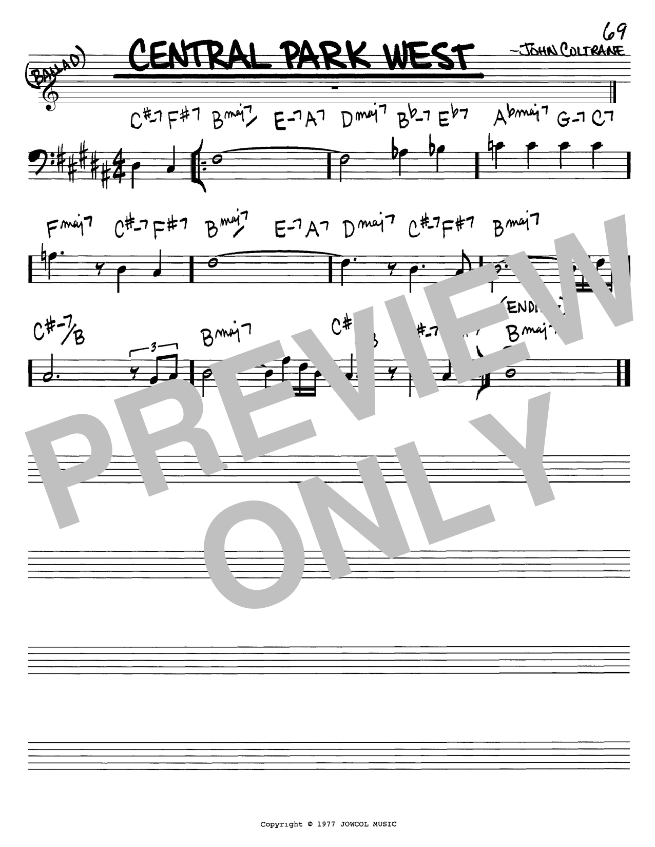John Coltrane Central Park West sheet music notes and chords. Download Printable PDF.