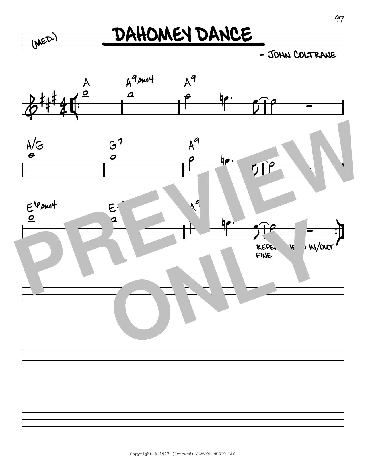 John Coltrane Dahomey Dance sheet music notes and chords. Download Printable PDF.