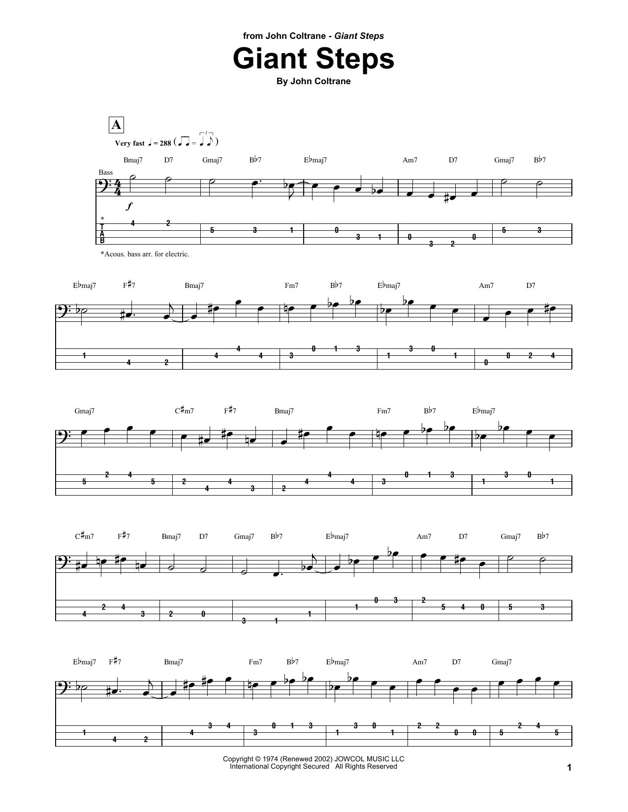 John Coltrane Giant Steps sheet music notes and chords. Download Printable PDF.