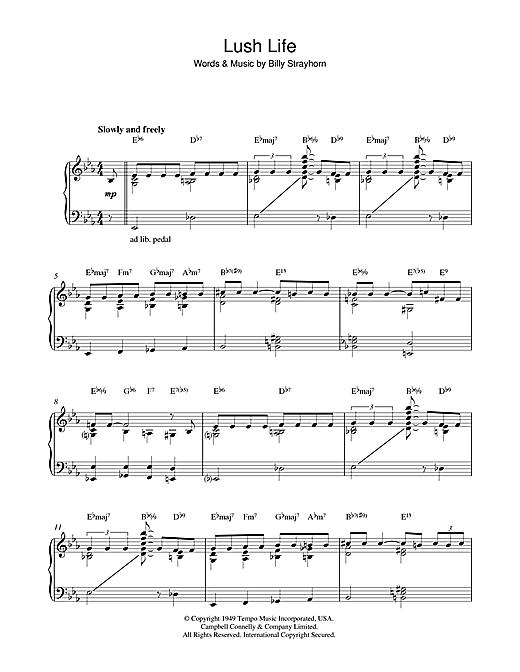 John Coltrane Lush Life sheet music notes and chords