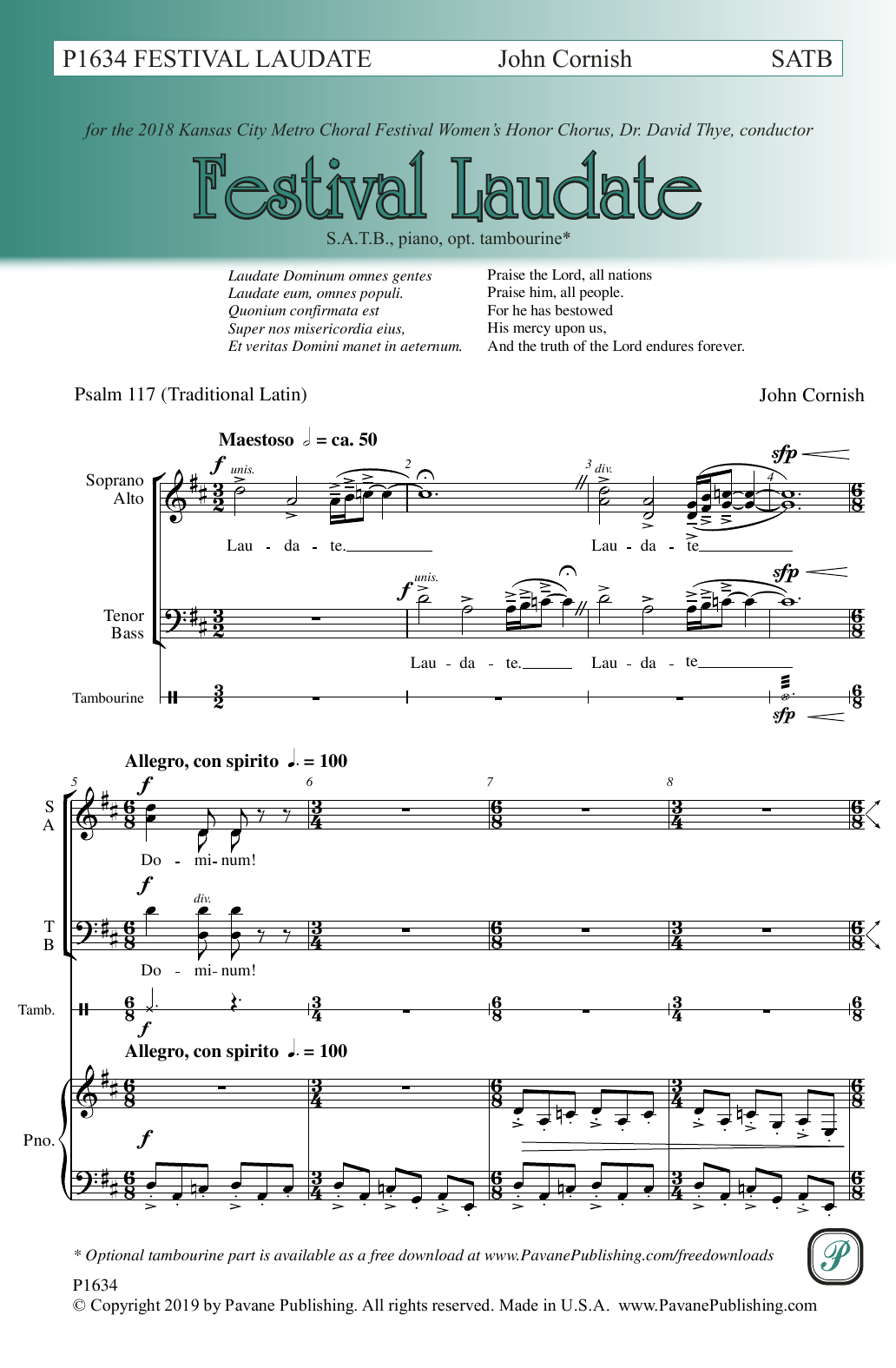 John Cornish Festival Laudate sheet music notes and chords. Download Printable PDF.