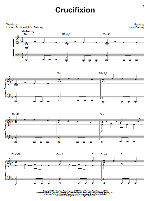John Debney Crucifixion sheet music notes and chords. Download Printable PDF.