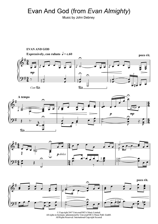 John Debney Evan And God (from Evan Almighty) sheet music notes and chords. Download Printable PDF.
