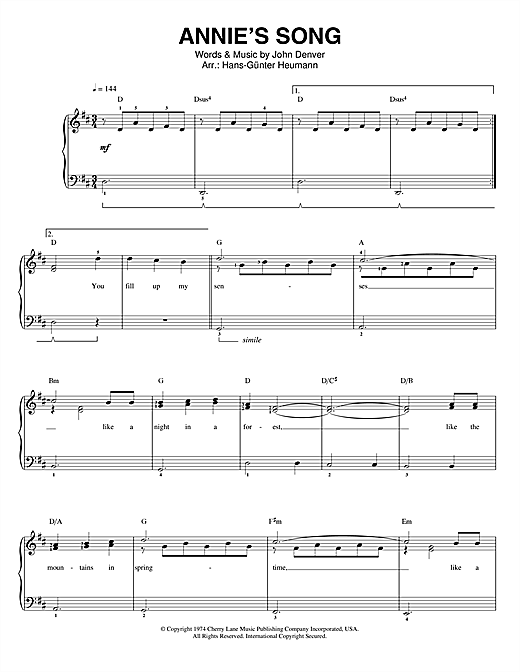 John Denver Annie's Song sheet music notes and chords. Download Printable PDF.