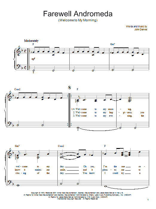 John Denver Farewell Andromeda (Welcome To My Morning) sheet music notes and chords