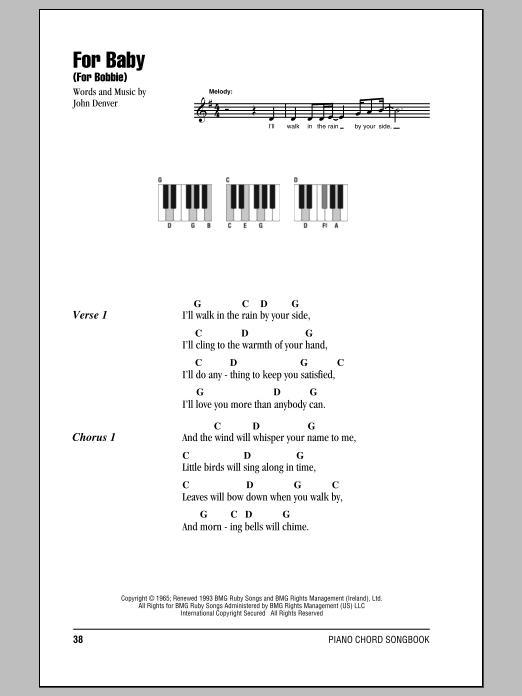 John Denver For Baby (For Bobbie) sheet music notes and chords