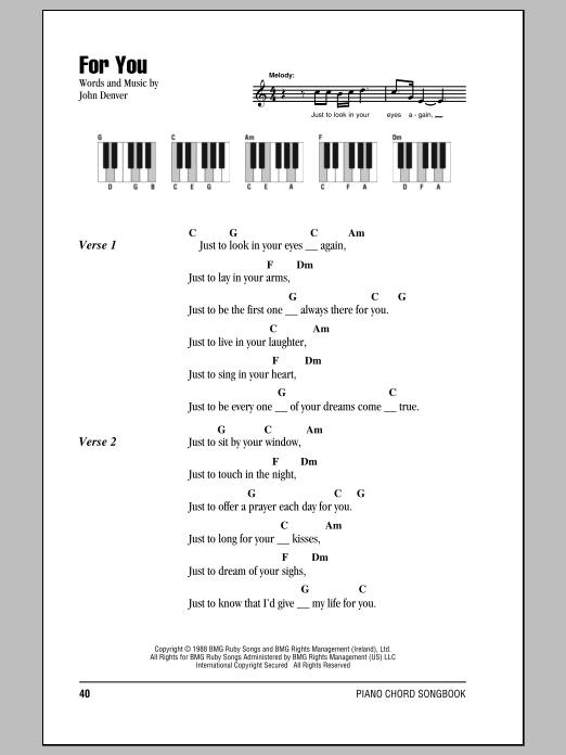 John Denver For You sheet music notes and chords. Download Printable PDF.