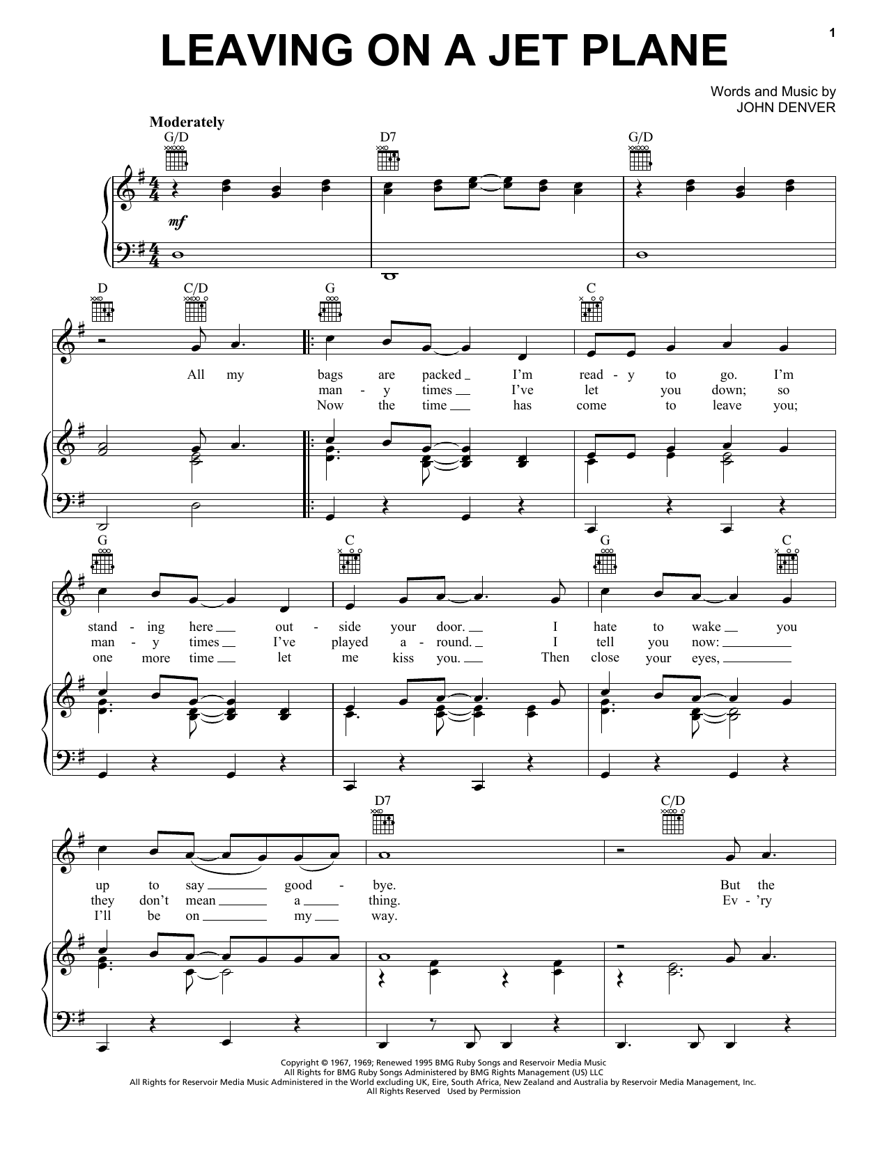 John Denver Leaving On A Jet Plane sheet music notes and chords. Download Printable PDF.