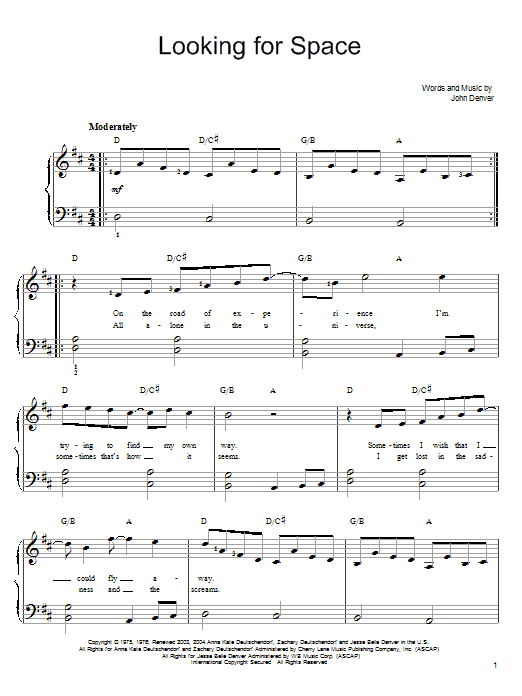 John Denver Looking For Space sheet music notes and chords. Download Printable PDF.