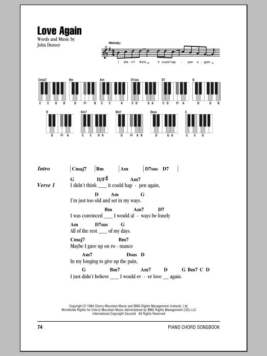 John Denver Love Again sheet music notes and chords. Download Printable PDF.