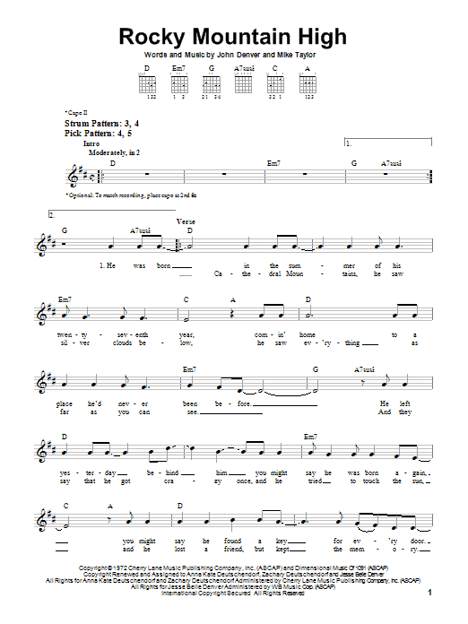 John Denver Rocky Mountain High sheet music notes and chords. Download Printable PDF.