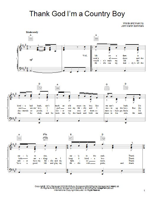 John Denver Thank God I'm A Country Boy sheet music notes and chords. Download Printable PDF.