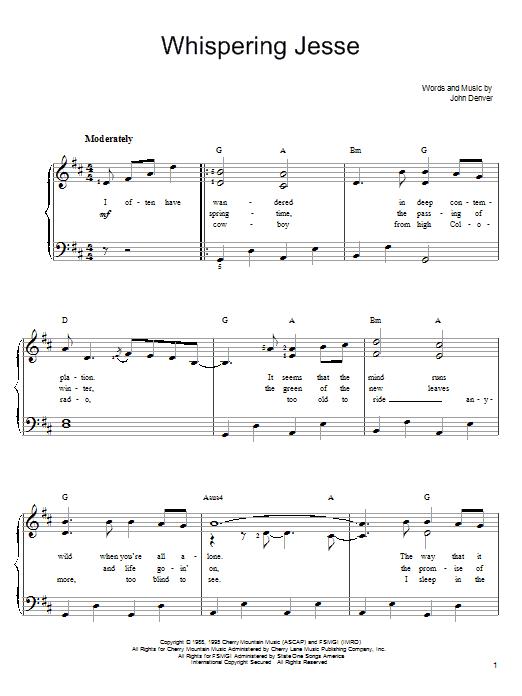 John Denver Whispering Jesse sheet music notes and chords