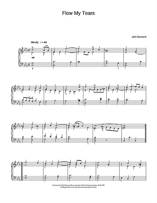 John Dowland Flow My Tears sheet music notes and chords. Download Printable PDF.