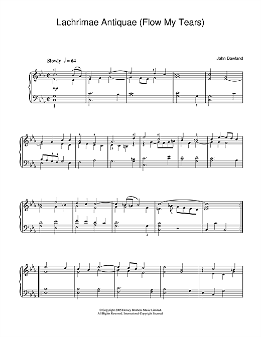 John Dowland Lachrimae Antiquae (Flow My Tears) sheet music notes and chords. Download Printable PDF.