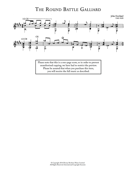 John Dowland The Round Battle Galliard sheet music notes and chords
