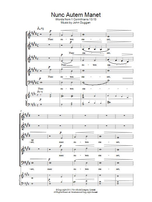 John Duggan Nunc Autem Manet sheet music notes and chords. Download Printable PDF.