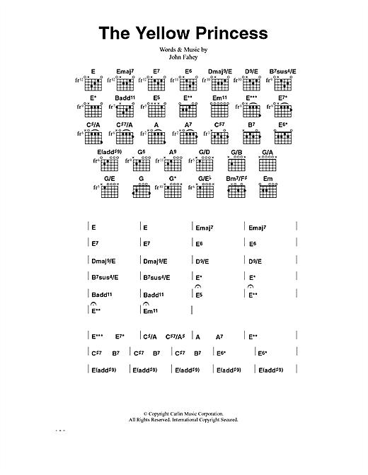 John Fahey The Yellow Princess sheet music notes and chords