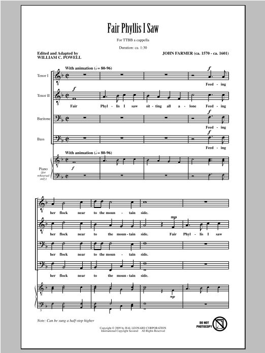 John Farmer Fair Phyllis I Saw (arr. William C. Powell) sheet music notes and chords. Download Printable PDF.