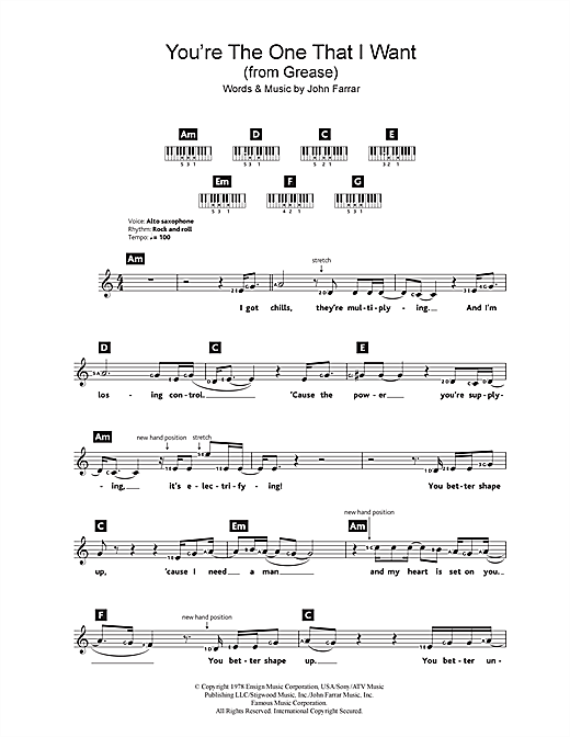 Olivia Newton-John and John Travolta You're The One That I Want (from Grease) sheet music notes and chords. Download Printable PDF.