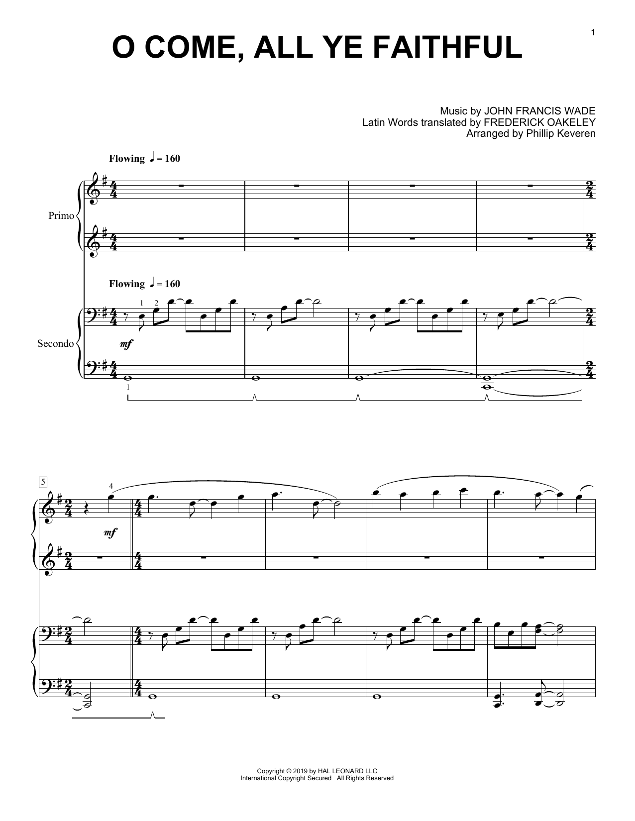 John Francis Wade O Come, All Ye Faithful (arr. Phillip Keveren) sheet music notes and chords. Download Printable PDF.