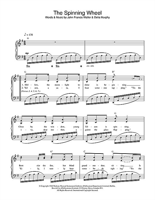 John Francis Waller The Spinning Wheel Song sheet music notes and chords. Download Printable PDF.