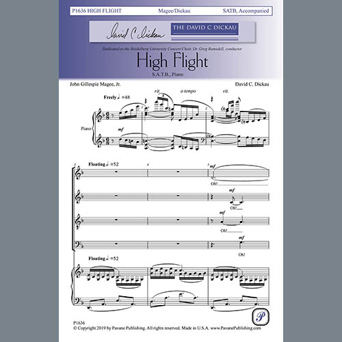 Easily Download John Gillespie Magee, Jr. and David C. Dickau Printable PDF piano music notes, guitar tabs for SATB Choir. Transpose or transcribe this score in no time - Learn how to play song progression.