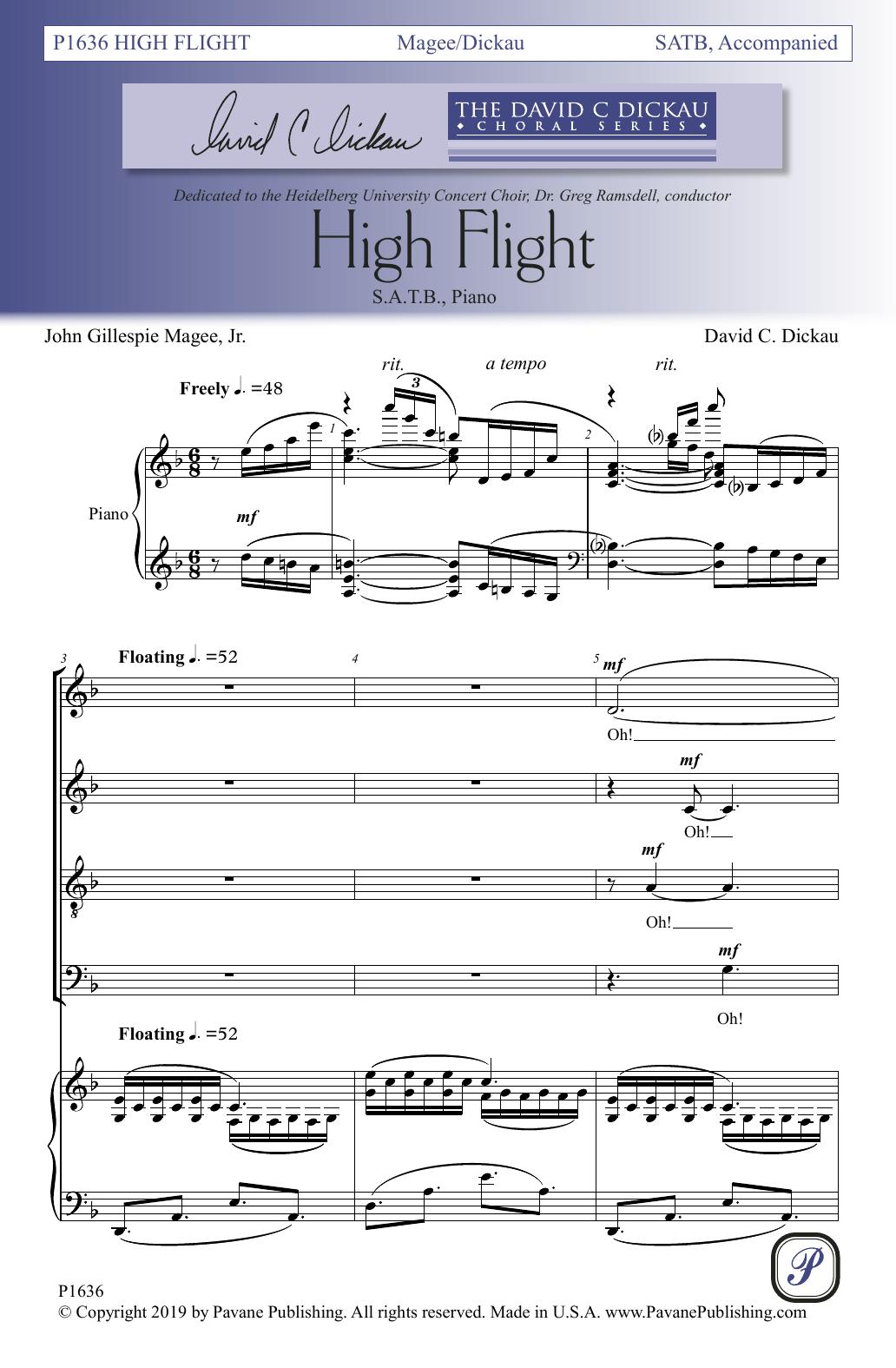 John Gillespie Magee, Jr. and David C. Dickau High Flight sheet music notes and chords. Download Printable PDF.