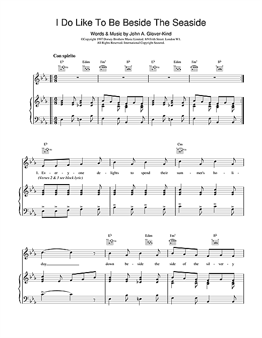 John Glover-Kind I Do Like To Be Beside The Seaside sheet music notes and chords