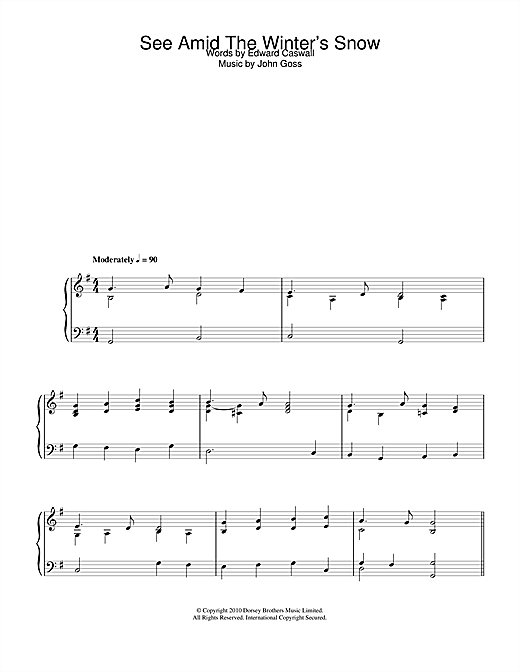 John Goss See Amid The Winter's Snow sheet music notes and chords. Download Printable PDF.