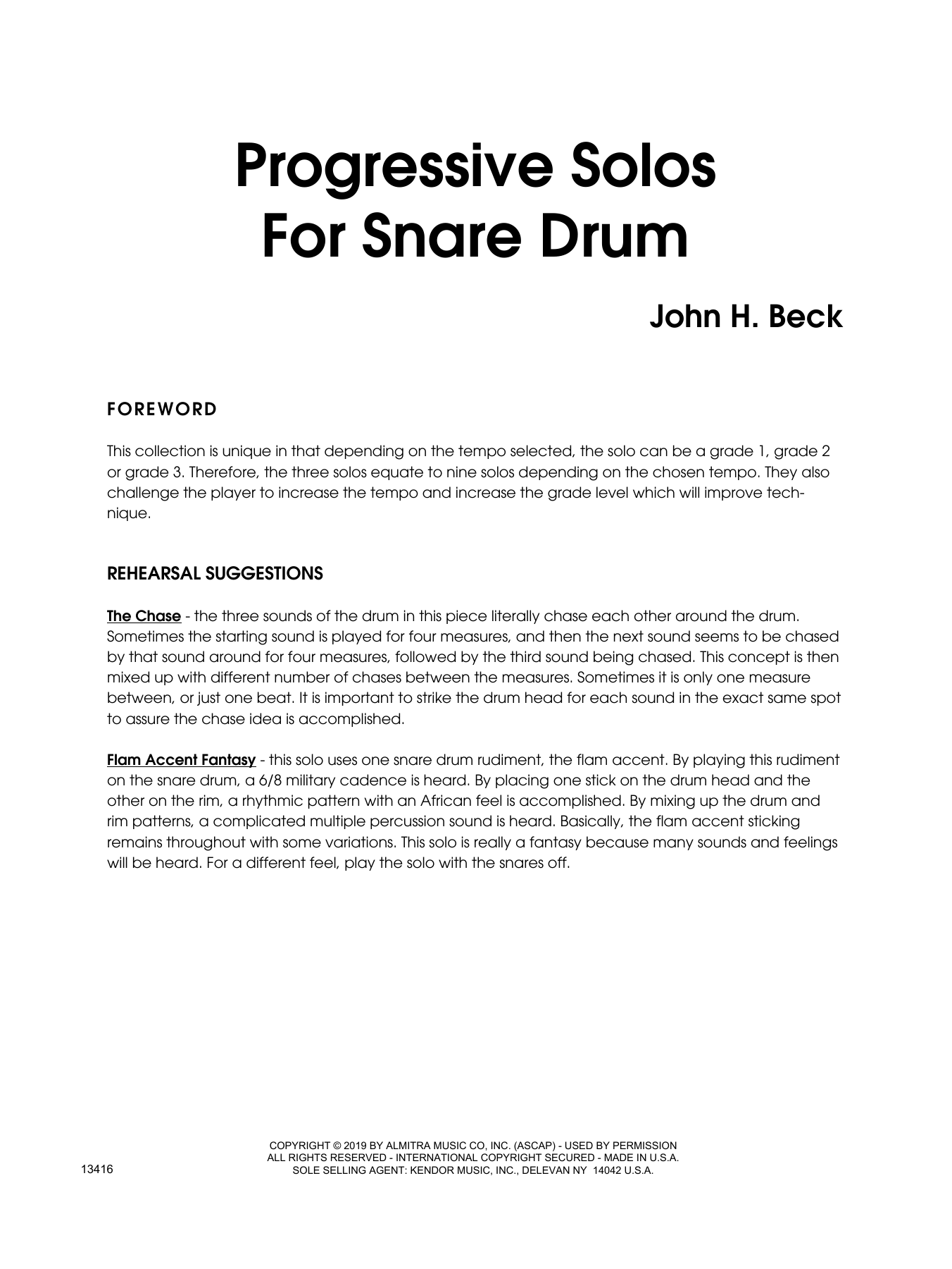 John H. Beck Progressive Solos For Snare Drum sheet music notes and chords. Download Printable PDF.