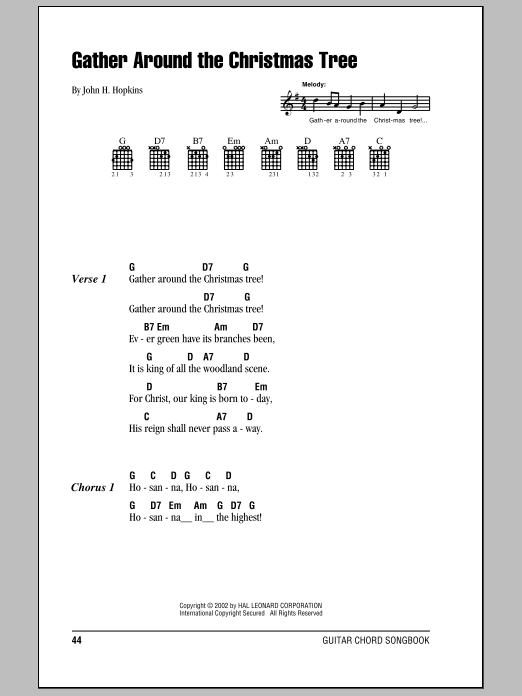 John H. Hopkins Gather Around The Christmas Tree sheet music notes and chords. Download Printable PDF.